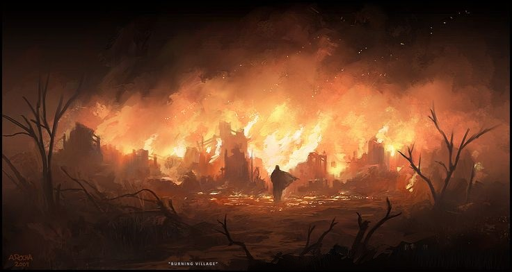 Burning Village by Andreas Rocha